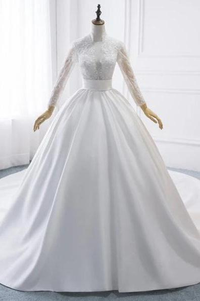 Elegant A-Line High Collar Long Sleeve Wedding Dresses With Lace,Custom Made Wedding Dresses.W304