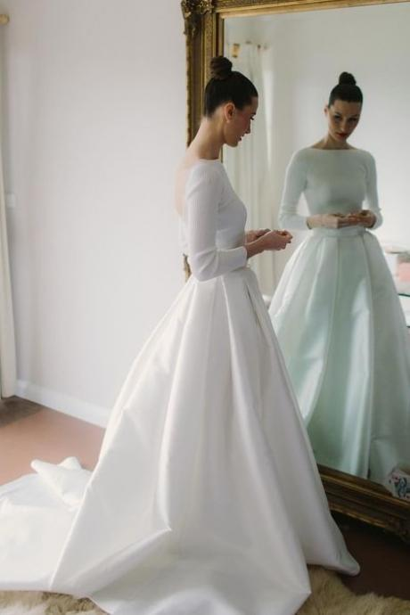 Elegant A-Line Long Sleeve Wedding Dresses,Simple Open Back Satin Wedding Dresses,Custom Made Wedding Dresses.W306