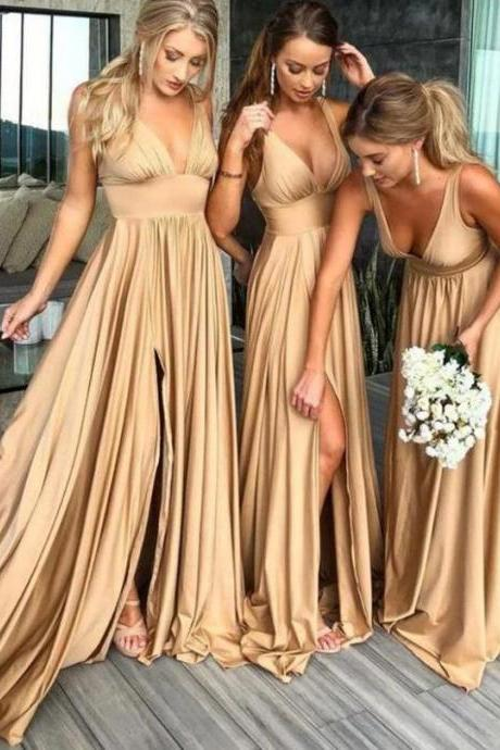 Champagne A-Line V-Neck Floor Length Bridesmaid Dresses ,Sexy Sleeveless Side Slit Bridesmaid Dresses.WB312