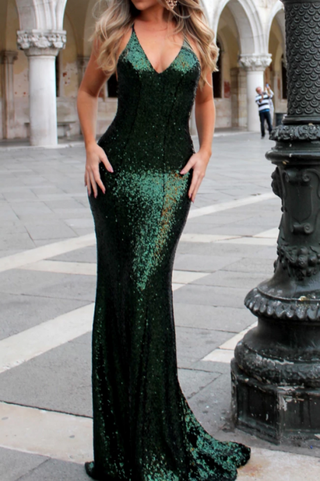 Sexy Sequin Backless Prom Dress,Sparkle V-Neck Prom Dress,Mermaid Prom Dress.P286