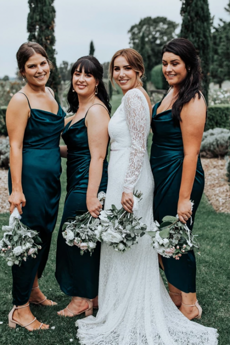 Teal Elastic Satin Spaghetti Strap Bridesmaid Dresses,Ankle Length Bridesmaid Dresses.WB331