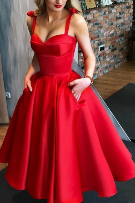 Red Short Sweetheart Homecoming Dress with Pockets,Charming Spaghetti Sleeveless Satin Homecoming Gowns.HL345