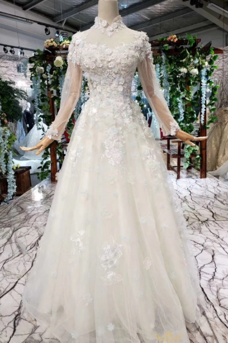 Elegant High Neck Long Sleeves Tulle Wedding Dresses,Chic A-Line Appliques Bridal Dresses.W351