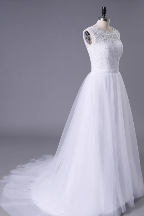 Beautiful A-line Brush Train Tulle Bridal Gown,Exquisite Appliques Sleeveless Lace Wedding Dresses.W355