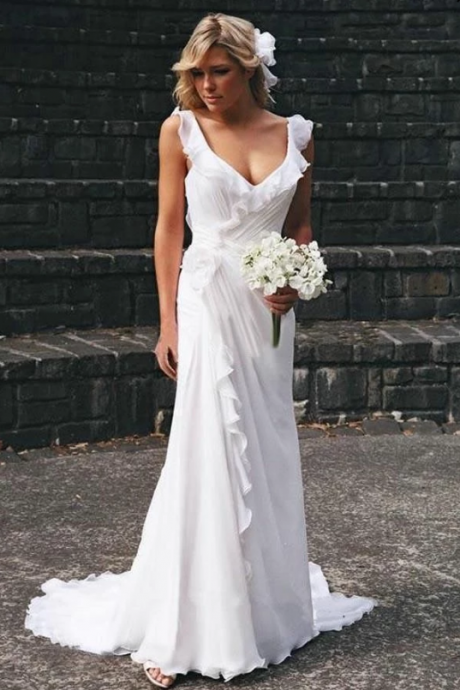 White A-Line Court Train Wedding Gown,Chic Flouncing Sleeveless Wedding Dresses.W359