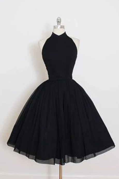Elegant Sleeveless Open Back Homecoming Dresses,Simple Black A-Line Tulle Homecoming Dresses.HL375