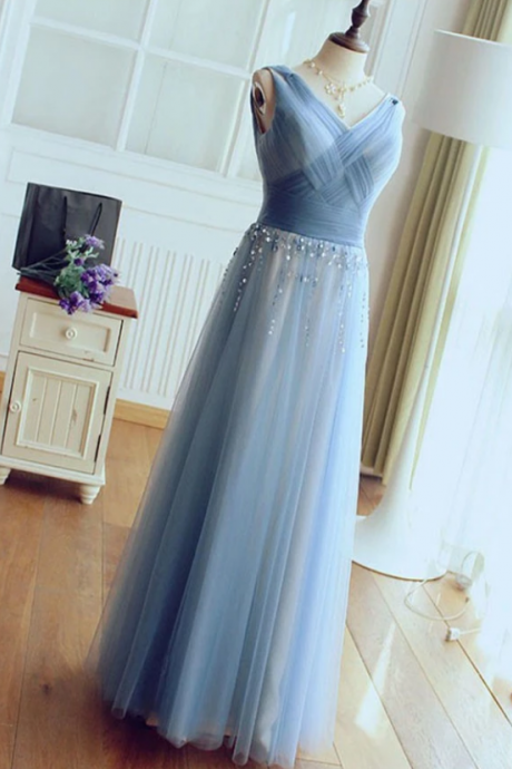 Charming V-Neck Sleeveless Prom Dresses,Chic Beaded Floor Length Tulle Prom Dresses.P381