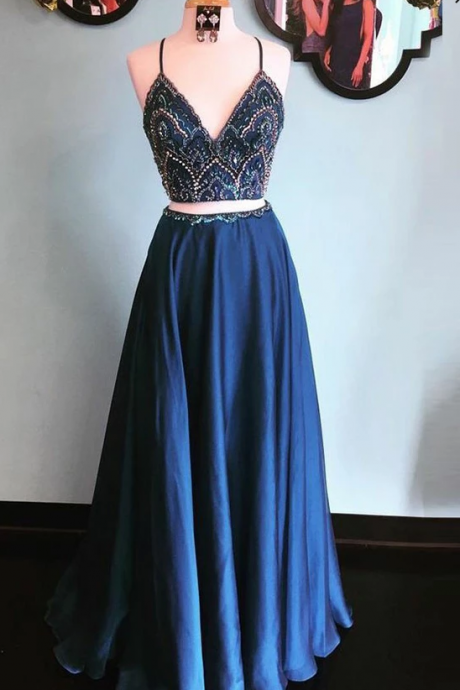 Dark Navy Two Piece Spaghetti Straps Prom Dress,Chic Beading Floor Length Elastic Satin Evening Dress.TP383