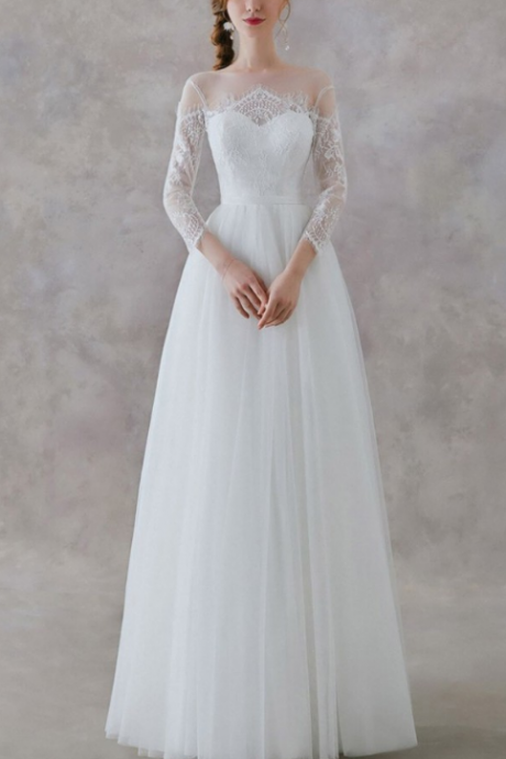 Elegant A-Line Floor Length Wedding Dress,Beautiful 3/4 Sleeve Tulle Wedding Dress.W385