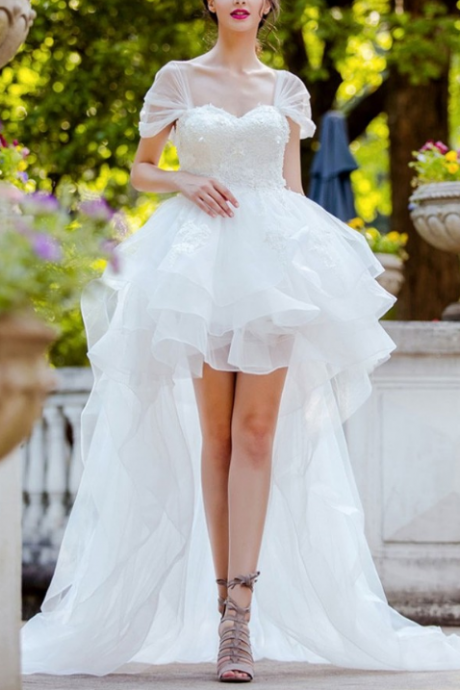 Special High Low Ruffled Tulle Bridal Dress,Charming Cap Sleeve Wedding Dress.W389