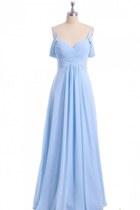A-line Sky Blue Floor Length Bridesmaid Dress,Simple Off Shoulder Chiffon Bridesmaid Dress.WB394