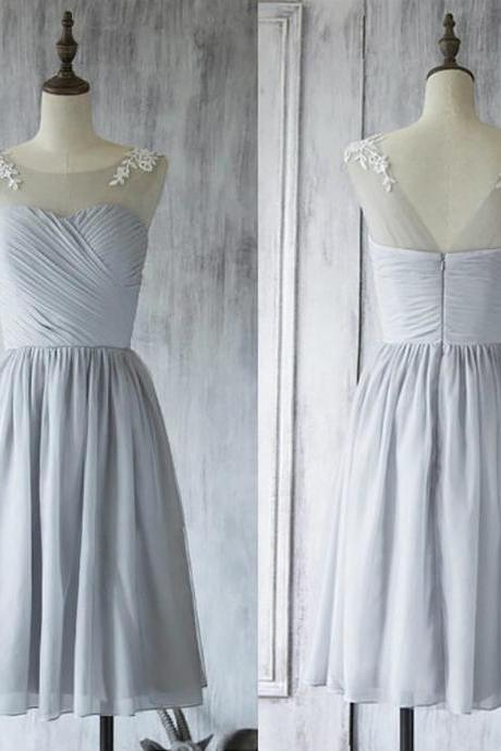 Short Lace Appliques Bridesmaid Dress,Light Gray Sleeveless Chiffon Bridesmaid Gown.WB396