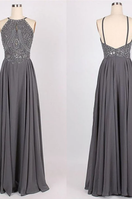 Gray A-Line Halter Floor Length Prom Dress,Sexy Sleeveless Backless With Beading Evening Dress.P402
