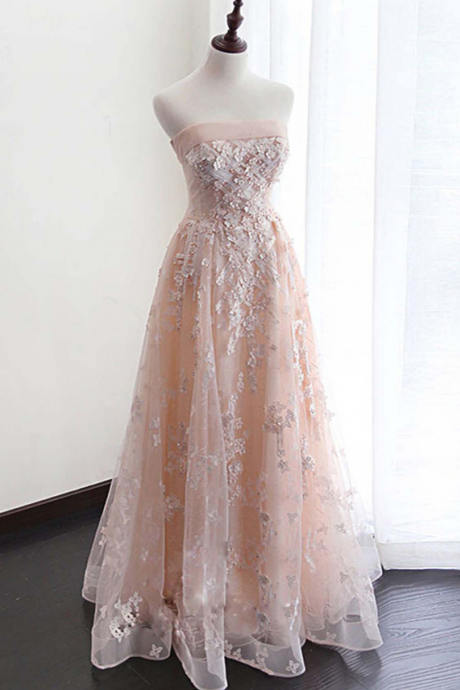 Pink Tulle Strapless Appliques Lace Homecoming Dresses,Charming A-Line Floor Length Homecoming Dresses.PH409