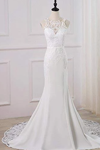 Sexy Open Back Sleeveless Lace Appliques Wedding Dresses,Charming Mermaid Bridal Dresses.W427