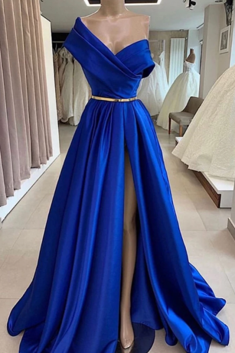 Elegant Satin V-Neck Long Side Slit Formal Prom Dresses, Royal Blue Evening Dresses.F438