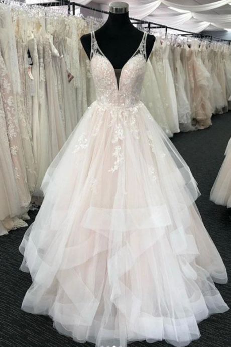Unique Ruffles Layered Tulle V Neck Wedding Dress,Exquisite Appliques Sleeveless Lace Bridal Wedding Dress.W446