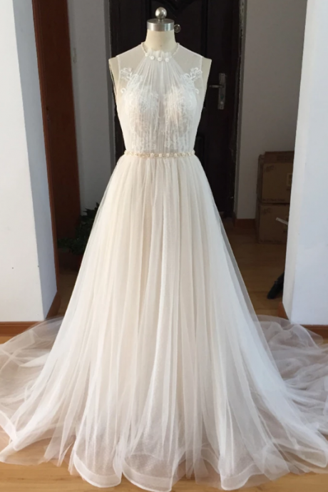 White Tulle Halter Beaded Bridal Wedding Dress,Elegant Sleeveless Brush Train Lace Wedding Dress.W447