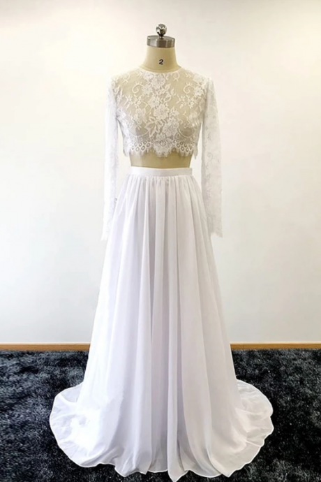 White lace two pieces bridal prom wedding dress with long sleeves,floor length chiffon wedding dresses.TP448