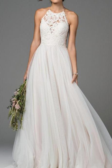 Charming Appliques Halter tulle wedding dress, Sexy Sleeveless open back bridal dress.W451