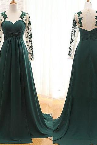 green sweetheart formal dress,elegant chiffon evening dress, long sleeve appliques lace prom dress,open back prom dress.F468
