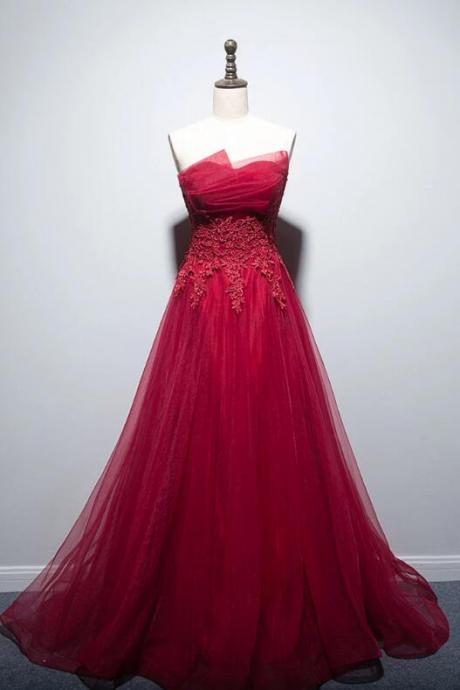 red strapless prom dress,A-line tulle prom dress,appliques prom dress,off shoulder prom dress,floor length prom dress.R472