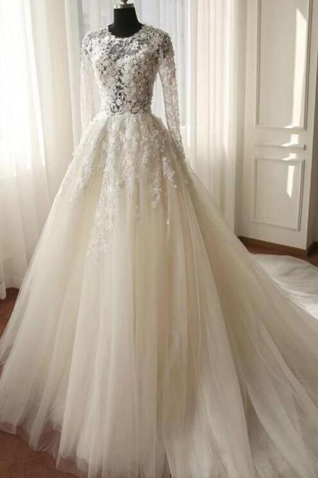Elegant Long Sleeve Lace Wedding Dress,Chic Applique Bridal Dress,Romantic Court Train Wedding Dress.W491