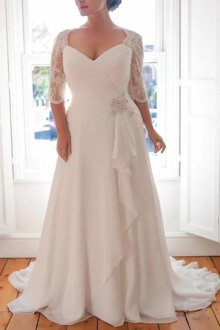 Plus Size A-Line Wedding Dress,Lace Half Sleeve Chiffon Wedding Dress,Simple Sweep Train Wedding Dress.W494