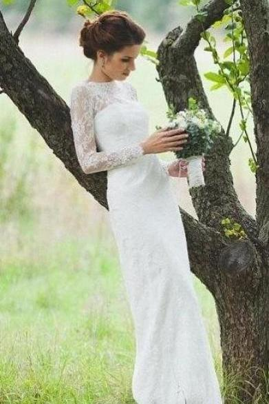 Elegant Long Sleeve Lace Wedding Dress,Charming A-Line Bridal Dress,Romantic Floor Length Wedding Dress.W497