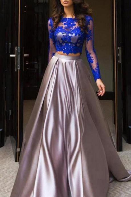Elegant Two Piece Prom Dresses, Scalloped Neck Tulle Evening Gowns, Elastic Woven Satin Lace Long Sleeve Party Dress.TP516