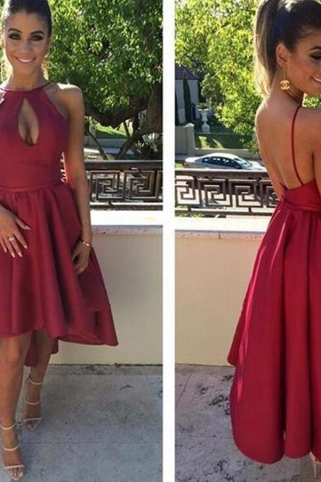 Red A-Line Satin Homecoming Dress,High Low Evening Dress,Simple Sleeveless Graduation Dress.HL525
