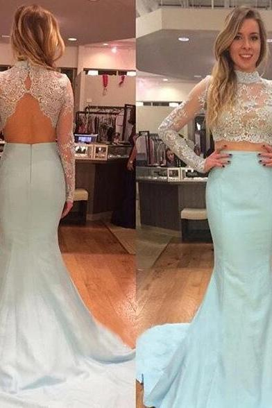 Mermaid two piece prom dress,elegant high collar lace dress,floor length party dress,long sleeve evening dress.TP527