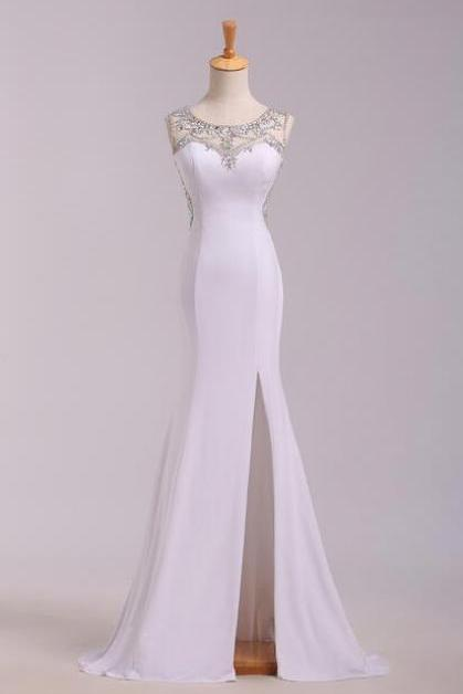 Charming Mermaid Satin Wedding Dress,Elegant Sleeveless Floor Length Wedding Dress.Exquisite Beaded Back Wedding Dress.W600