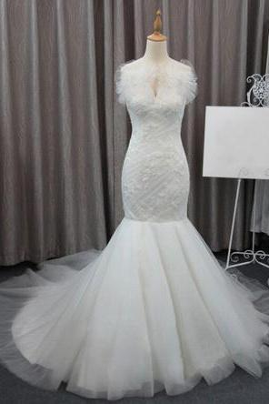 chic ruffled sleeveless bridal dresses,charming mermaid bridal dresses,court train wedding dresses.W607