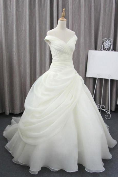 Romantic pleat wedding dresses,charming cap sleeve wedding dresses,A-line sweep train ball wedding dresses.W608