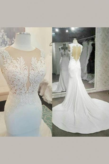Romantic court train wedding dresses,charming sleeveless wedding dresses,mermaid open back wedding dresses.W609