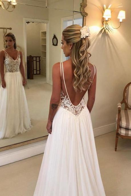 Ivory Chiffon Sweep Train Wedding Dress,Elegant Deep V-Neck Open Back Lace Appliques Bridal Gown.W633