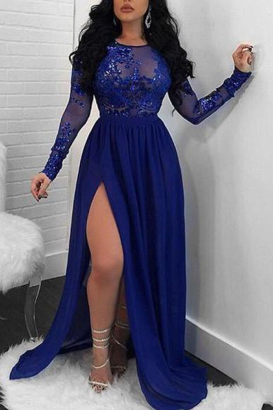Sparkling A-Line Royal Blue Evening Dress,Long Sleeve Lace Appliques Sequin Prom Dress,High Slit Round Neck Prom Dresses.LS634