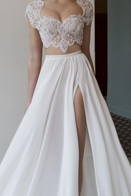 white two piece long wedding dress,sexy high slit prom dress with lace ,cap sleeve v-neck wedding dress.W635