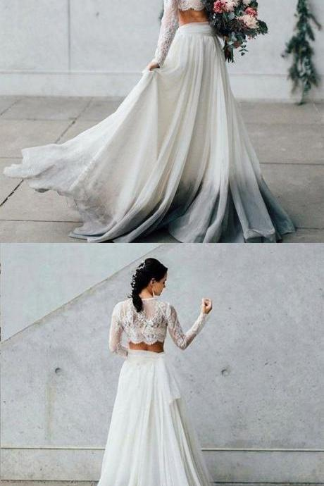 Retro Two Pieces Long Sleeves Lace Bridal Dresses,Charming Chiffon Floor Length Wedding Dresses With Scoop Neckline.W648