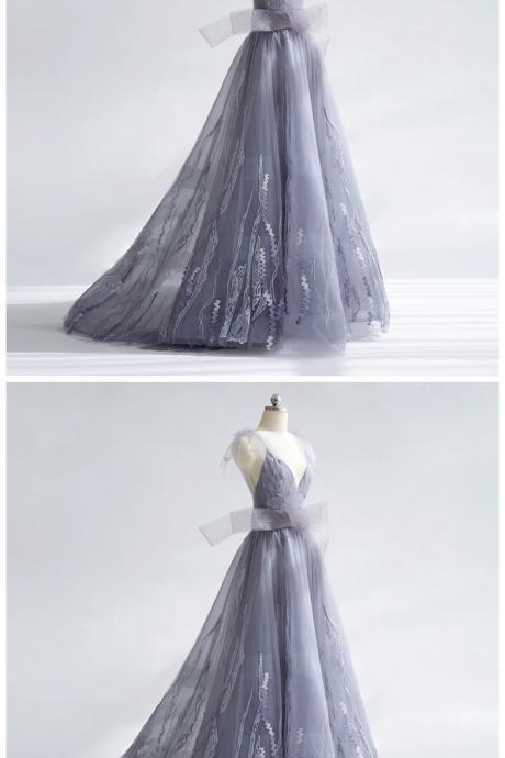 Charming A-Line V-Neck Prom Dresses,Spaghetti Straps Tulle Long Prom Dresses,Brush Train Prom Dresses.P652