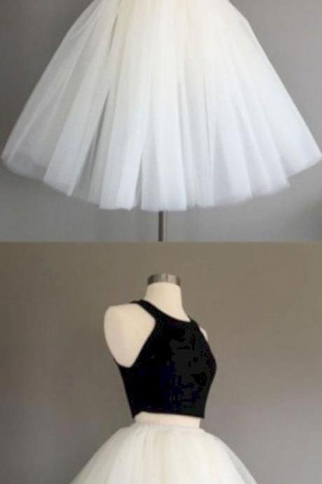 Two Piece Halter Homecoming Dress,Knee-Length Sleeveless Homecoming Dress,Ivory Tulle Homecoming Dress.MN664