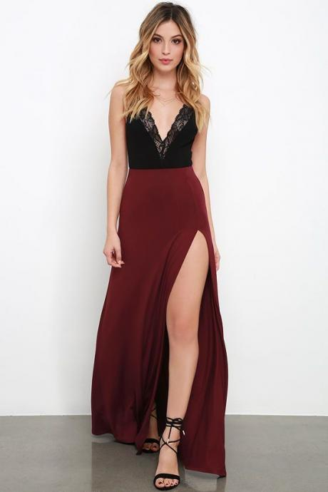 Wine Red Black Lace Party Gowns,Simple Spaghetti Straps Prom Dresses,Sexy Side Slit Satin Prom Dresses.P672