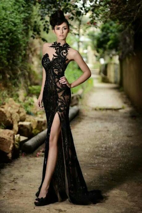 High Neck Black Mermaid Formal Prom Dresses,High Slit Applique Sleeveless Formal Evening Gowns.F684