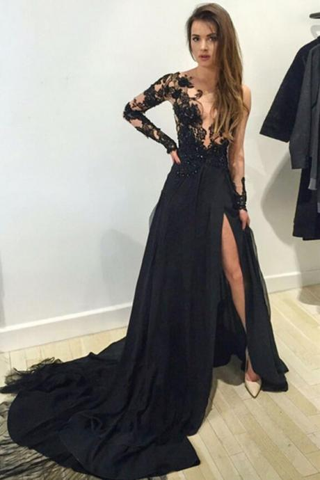 Long sleeve black lace prom dress,sexy v-neck side slit prom dress, chiffon prom dress, elegant brush train prom dress.LS719