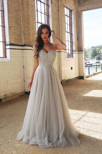 Simple A-Line Spaghetti Straps Beading Prom Dresses,Charming Sweetheart Floor-Length Tulle Prom Dresses.P725