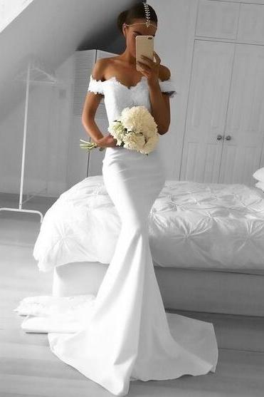 White lace mermaid brush train wedding dress, charming off-the-shoulder bridal dress.W736