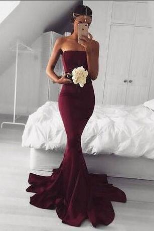 Burgundy strapless mermaid brush train prom dress,sexy off-the-shoulder evening dresses.ST737