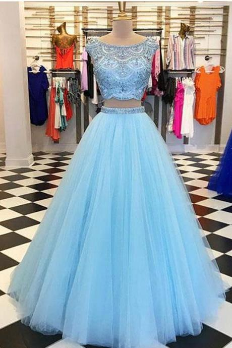Sexy Two Pieces Beaded Blue Long Prom Dresses,Round Collar Sleeveless Evening Dresses.TP742