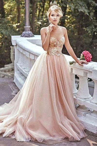 Gold Sequin A-line Evening Dresses,Spaghetti Straps Tulle Prom Dress, Custom Long Prom Dresses.P744